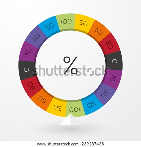 color wheel of fortune with arrow indicators and percent - stock vector