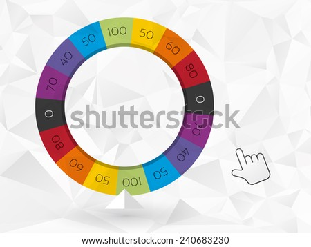color wheel of fortune with the cursor - stock vector
