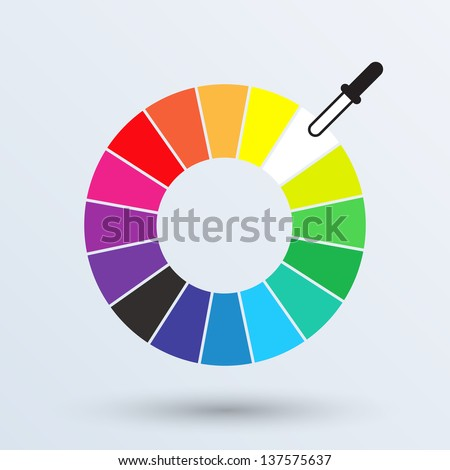 Color Wheel Or Circle Isolated On Gray Background Vector Illustration