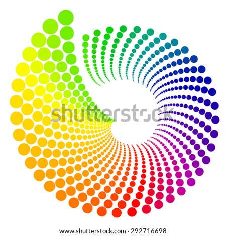 Color wheel shaped like shell, isolated on white background - stock vector