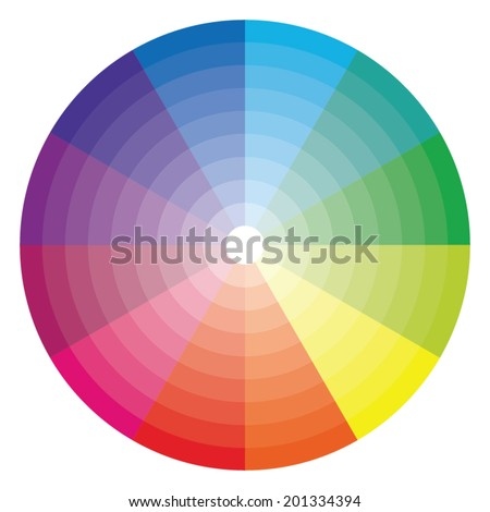 Color wheel with shade of color - stock vector