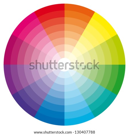 Color wheel with shade of colors. Vector icon. - stock vector