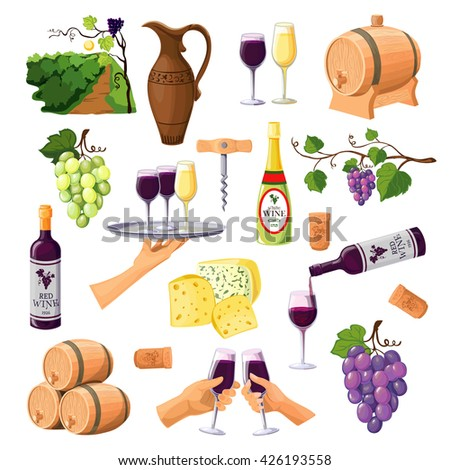 Color wine icons set on white background with glasses and bottles of red and white wine varieties jug and barrels flat vector illustration  - stock vector