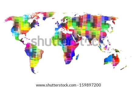 color World map, eps10 - stock vector