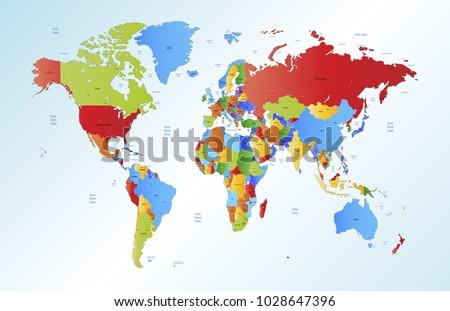 Color world map vector vector de stock1028647396 shutterstock color world map vector gumiabroncs Images