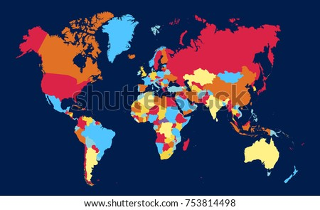 Flat world map template your design stock vector 630833630 color world map vector gumiabroncs Images