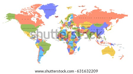 Color world map names countries political stock vector 631632209 color world map with the names of countries political map every country is isolated gumiabroncs Images