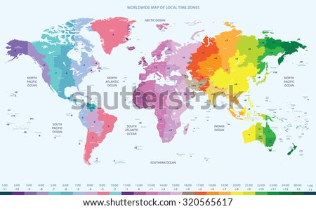 color worldwide map of local time zones