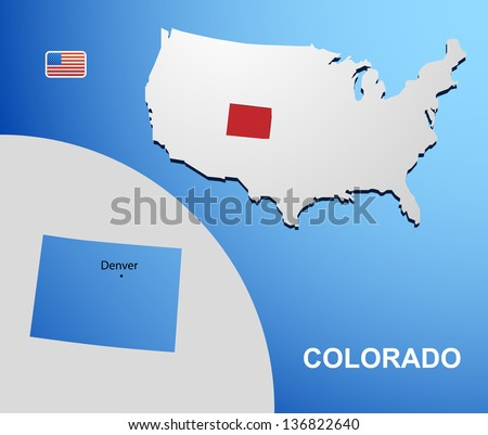 Colorado on USA map with map of the state
