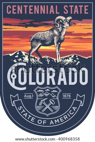 Colorado state emblem, sunset on a blue background