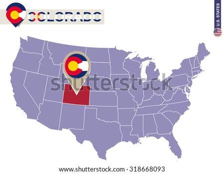 Colorado State On Usa Map Colorado Stock Vector - Colorado usa map