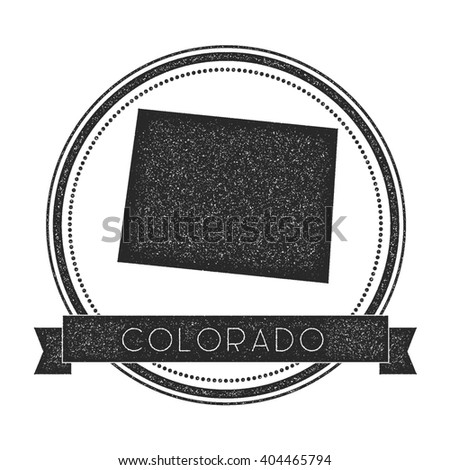 Colorado Vector Map Stamp Retro Distressed Insignia With Us State Map Hipster Round Rubber
