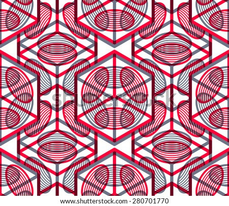 Colored abstract interweave geometric seamless pattern, EPS10. Bright illusory backdrop with three-dimensional intertwine figures. Graphic contemporary covering. - stock vector