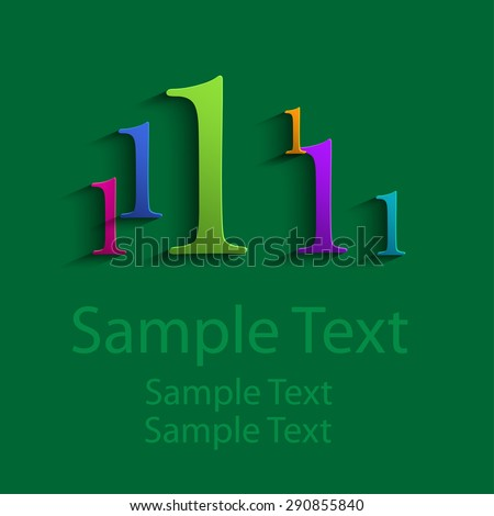 Colored abstract numbers one - stock vector