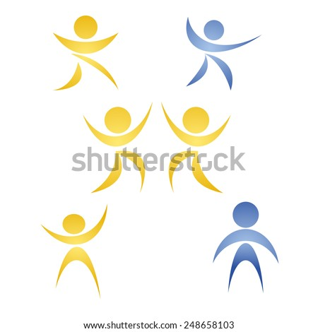 Colored abstract people silhouette