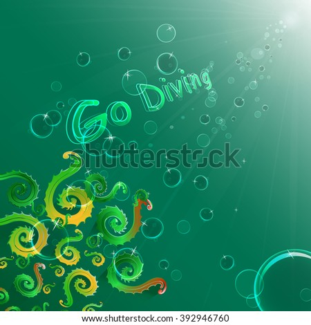 Colored algae on a green background, bubbles, deep expanse of water. Go diving. - stock vector