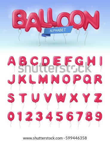 Colored and isolated balloon alphabet realistic icon set with pink abc and numbers ballons vector illustration