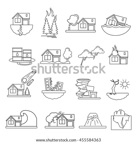 Colored and isolated disaster damage in linear style icon set emergencies occurring on the planet vector illustration