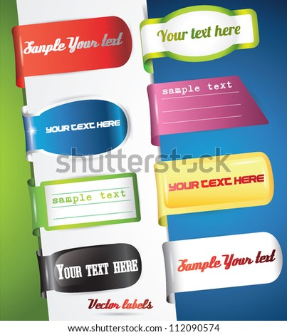 colored and shaded labels - stock vector
