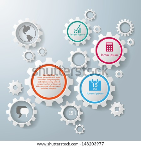 Colored and white gears on the grey background. Eps 10 vector file.