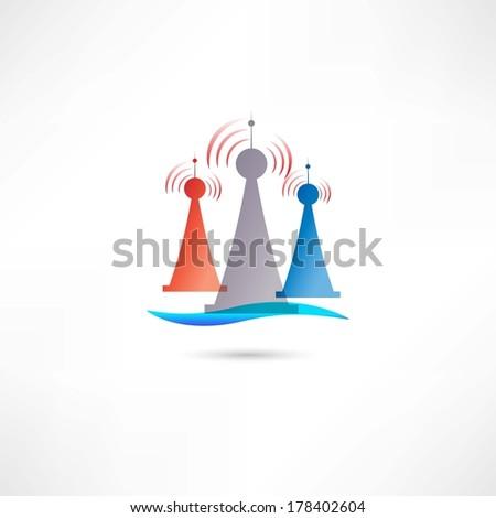 colored antennas - stock vector