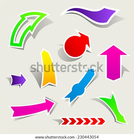 Colored arrow pointers - stock vector