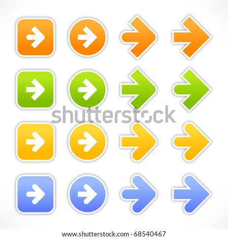 Colored arrow sign web 2.0 stickers with shadow on white background - stock vector