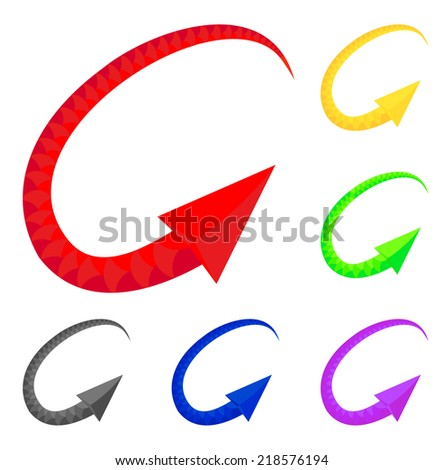 Colored arrows imitating snake. Vector Illustration for design on white background.  - stock vector