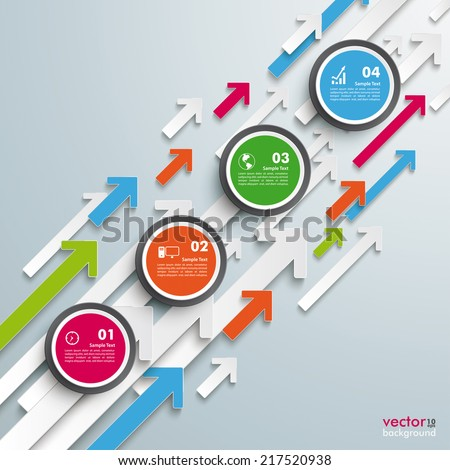 Colored arrows with circles on the grey background. Eps 10 vector file. - stock vector