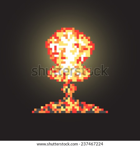 colored atomic explosion in pixel art with flash. isolated on black background. trendy modern design vector illustration - stock vector