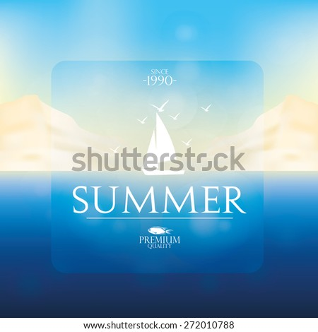 Colored background of a summer landscape with text. Vector illustration - stock vector