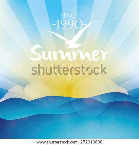 Colored background of a summer sunset with text. Vector illustration - stock vector