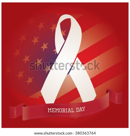 Colored background with a ribbon with text, a peace symbol and the american flag for memorial day - stock vector