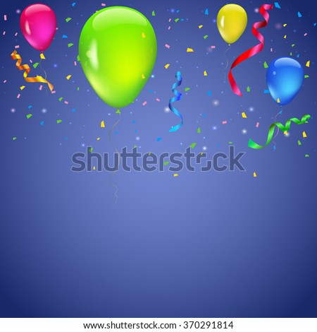 Colored background with balloons, garlands of colored flags, streamers and confetti. Holiday greeting card for Christmas, new year, birthday or anniversary. Template for your inspiration - stock vector