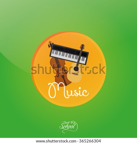 Colored background with text and isolated school supplies - stock vector