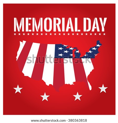 Colored background with text and the american map for memorial day