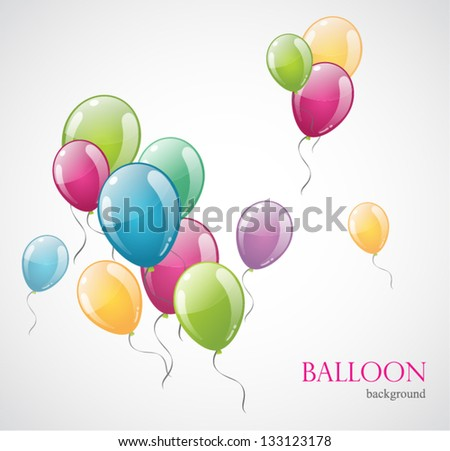 Colored balloon isolated on background. Vector illustration - stock vector