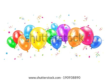 Colored balloons and tinsel flying isolated on white background, illustration. - stock vector