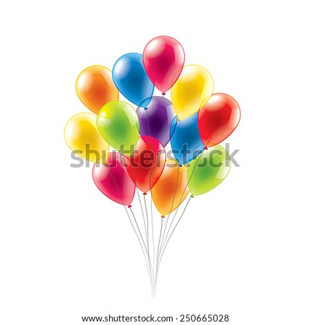 Colored balloons isolated on white photo-realistic vector illustration - stock vector