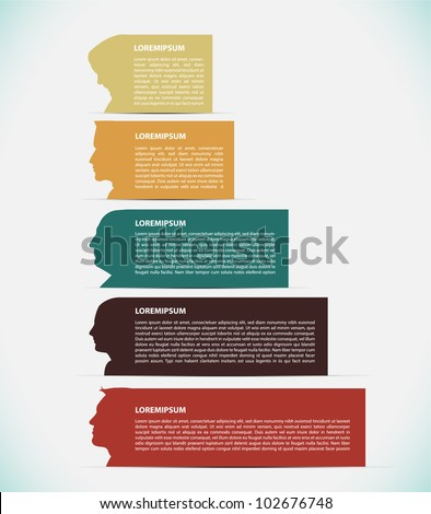 Colored banners with avatars - stock vector