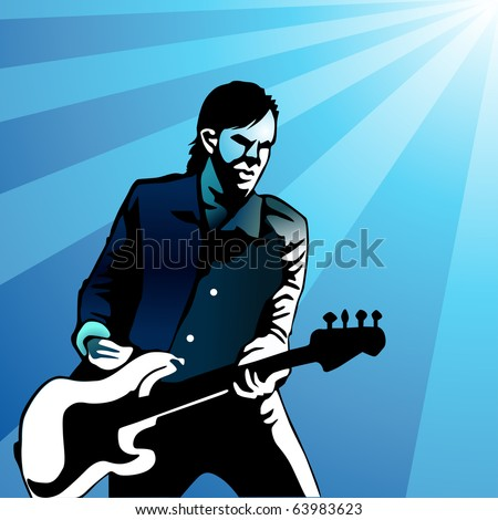 colored bass guitar player vector illustration - stock vector