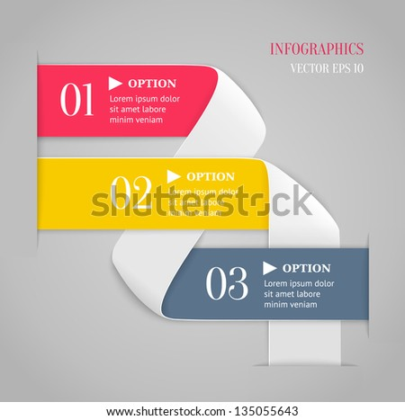 Colored bended lines with numbers on gray background. Trendy origami style options banner. Can be used for numbered options, web design, infographics.