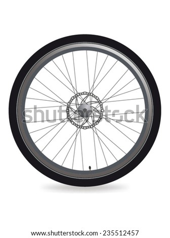 Colored bicycle wheel. Vector illustration.