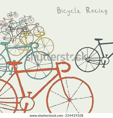 Colored bikes - stock vector