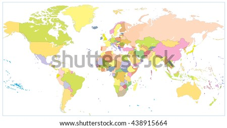 Colored blank political World Map isolated on white. All layers are separated in editable layers clearly labeled.