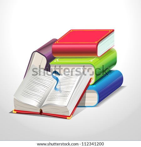colored books isolated on white Vector illustration - stock vector