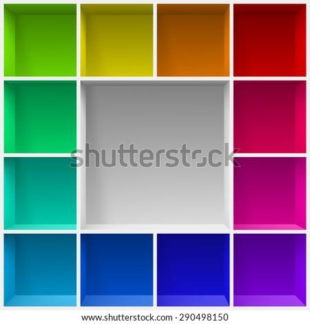 Colored bookshelves. Illustration for creative design template - stock vector