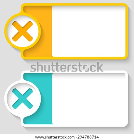Colored boxes for your text and multiplication symbol - stock vector