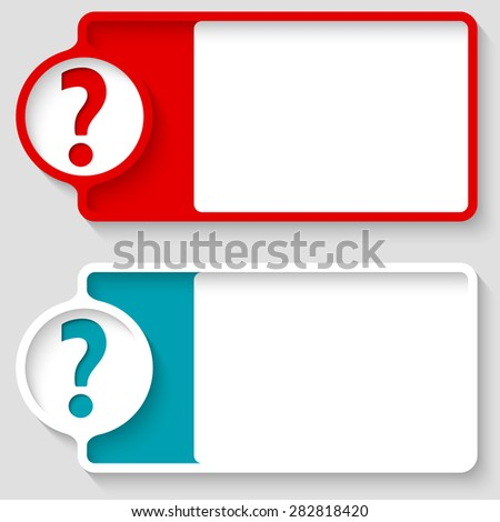 Colored boxes for your text and question mark - stock vector