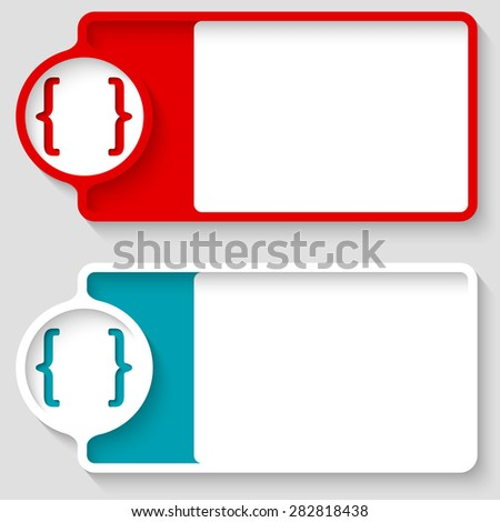Colored boxes for your text and square brackets - stock vector
